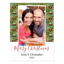 Vintage Green Christmas Tree Ornaments Photo Card