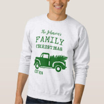 Vintage Green Country Christmas Farm Truck Sweatshirt