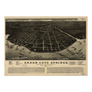 Vintage Green Cove Springs FL Pictorial Map (1885) Poster