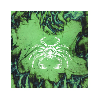 Vintage Green Crab of Cancer Canvas Print