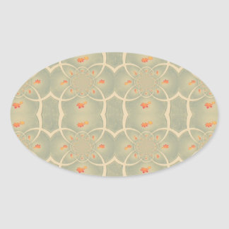 Vintage Green Cream Damasc Pattern Oval Sticker