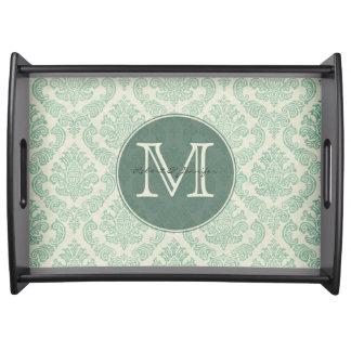 Vintage Green Damask Monogrammed Serving Tray
