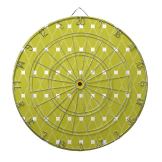 Vintage Green Diamond Pattern Dartboard With Darts