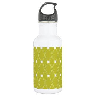 Vintage Green Diamond Pattern Stainless Steel Water Bottle