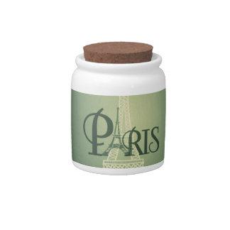 Vintage Green Eiffel Tower Paris Design Candy Dishes
