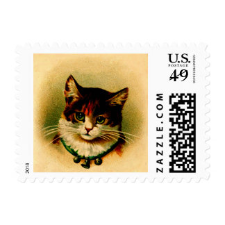 Vintage Green-Eye Kitty with Jingle Bells Postage Stamp