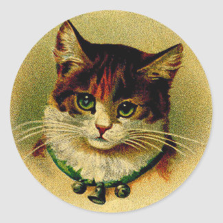 Vintage Green-Eyed Cat with Jingle Bells Classic Round Sticker