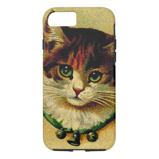 Vintage Green-Eyed Cat with Jingle Bells iPhone 7 Case