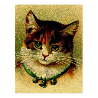 Vintage Green-Eyed Cat with Jingle Bells Postcard