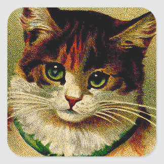 Vintage Green-Eyed Cat with Jingle Bells Square Sticker