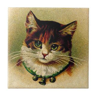 Vintage Green-Eyed Cat with Jingle Bells Tile