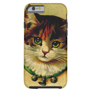 Vintage Green-Eyed Cat with Jingle Bells Tough iPhone 6 Case