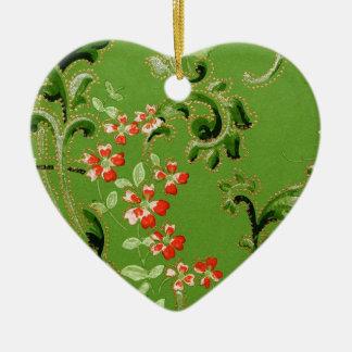 Vintage Green Floral Design Ceramic Ornament