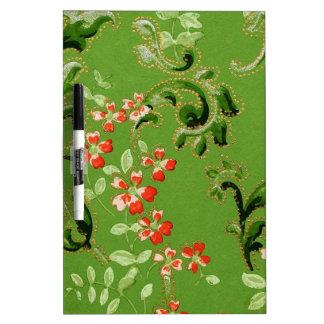 Vintage Green Floral Design Dry Erase Board