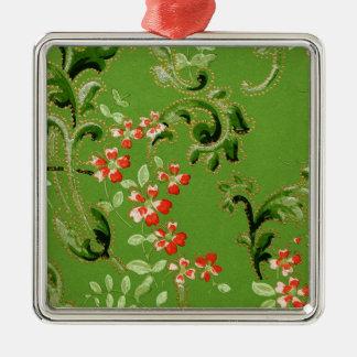 Vintage Green Floral Design Metal Ornament
