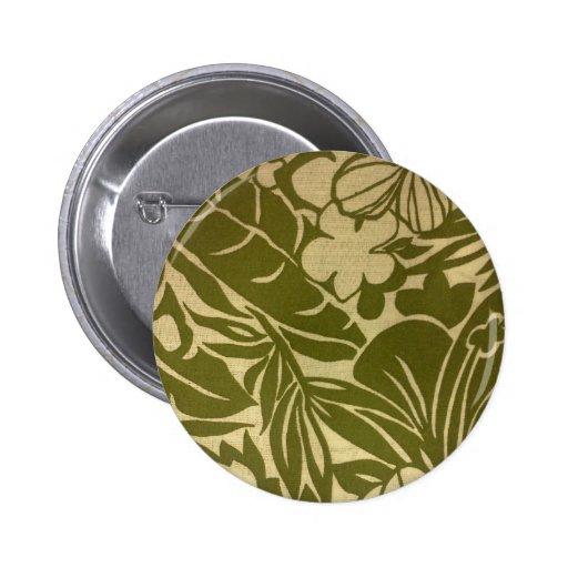 Vintage green floral print 2 inch round button