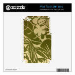 Vintage green floral print decals for iPod touch 4G