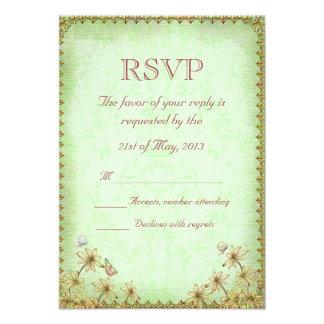 Vintage Green Floral Wedding RSVP Invitations