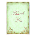 Vintage Green Floral Wedding  Thank You Card