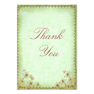 Vintage Green Floral Wedding Thank You Announcement