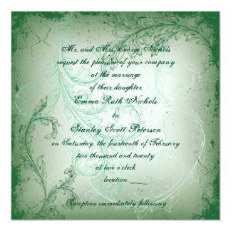Vintage green flourish scroll leaf wedding card