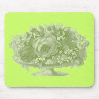 Vintage Green Flower Arrangement Mouse Pad