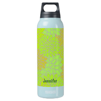 Vintage Green Flowers Insulated Water Bottle