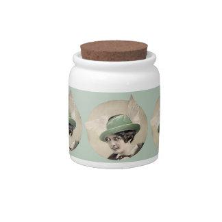 Vintage Green Hat Candy Jars
