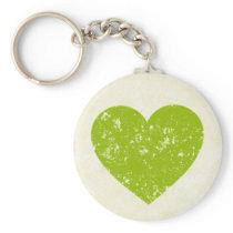 Vintage Green Heart Grunge Love Keychain