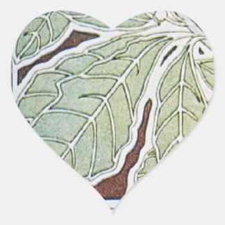 Vintage Green Heart Sticker