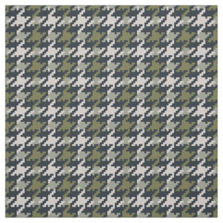 Vintage green houndstooth plaid pattern fabric