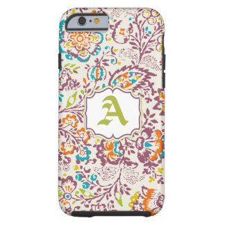 Vintage Green Ivory Plum Damask Personalize iPhone Tough iPhone 6 Case