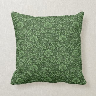 Vintage Green Lace Decorative Throw Pillow