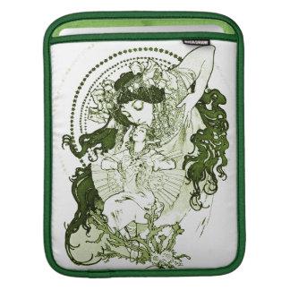 Vintage green lady art iPad sleeve