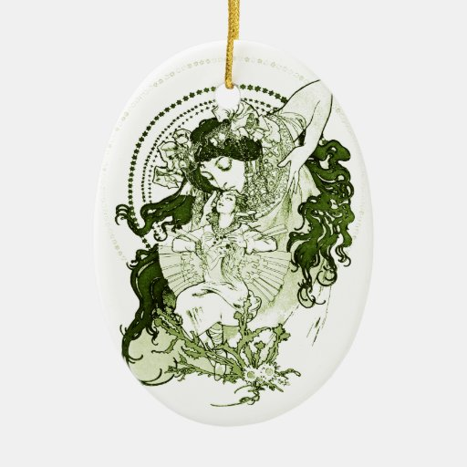 Vintage green lady art Double-Sided oval ceramic christmas ornament