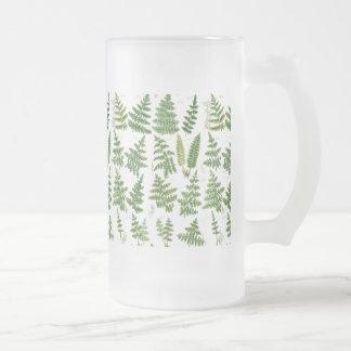 Vintage Green Leafy Plants Frosted Glass Beer Mug