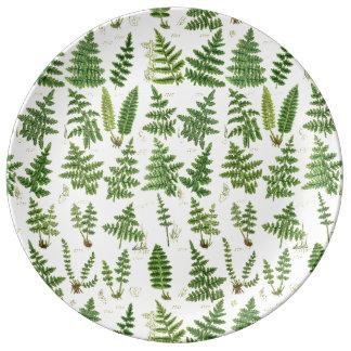 Vintage Green Leafy Plants Porcelain Plate