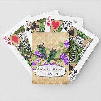 Vintage Green Love Bird Wedding Gift Playing Card