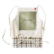 vintage,green,metallic,damask,pattern,chic,elegant zazzle HEART apron