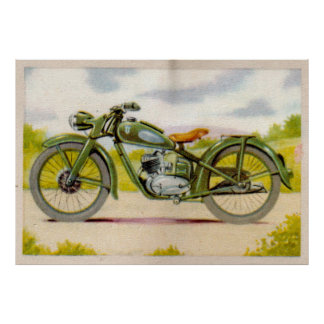 Vintage Green Motorcycle Print