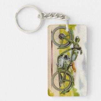 Vintage Green Motorcycle Print Keychain