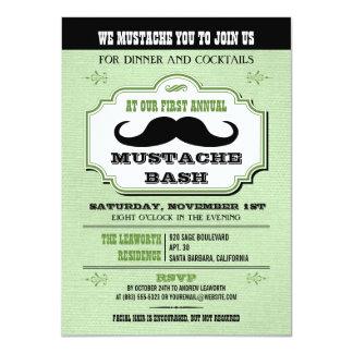 Vintage Green Mustache Bash 4.5x6.25 Paper Invitation Card