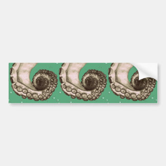 Vintage Green Nautical Octopus Tentacle Bumper Sticker