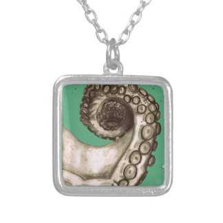 Vintage Green Nautical Octopus Tentacle Square Pendant Necklace