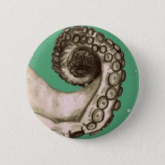 Vintage Green Nautical Octopus Tentacle Pinback Button