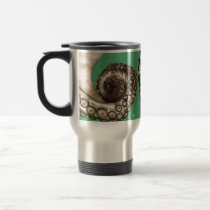 Vintage Green Nautical Octopus Tentacle Travel Mug