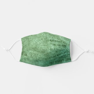 Vintage green Newspaper Page Cloth Face Mask