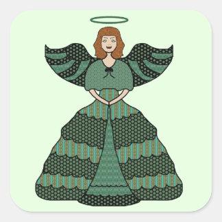 Vintage Green Patchwork Smiling Angel Square Sticker