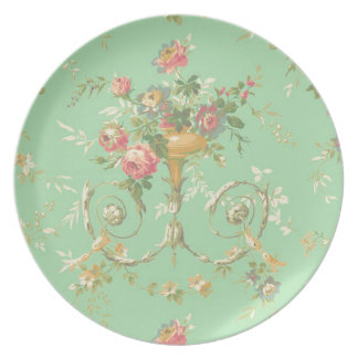 vintage green pink and white roses plates