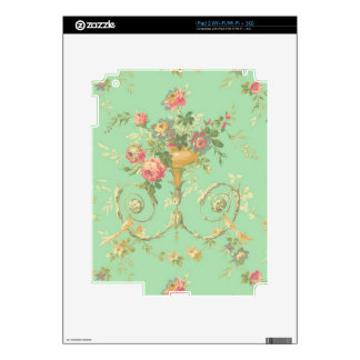 vintage green pink and white roses decals for the iPad 2